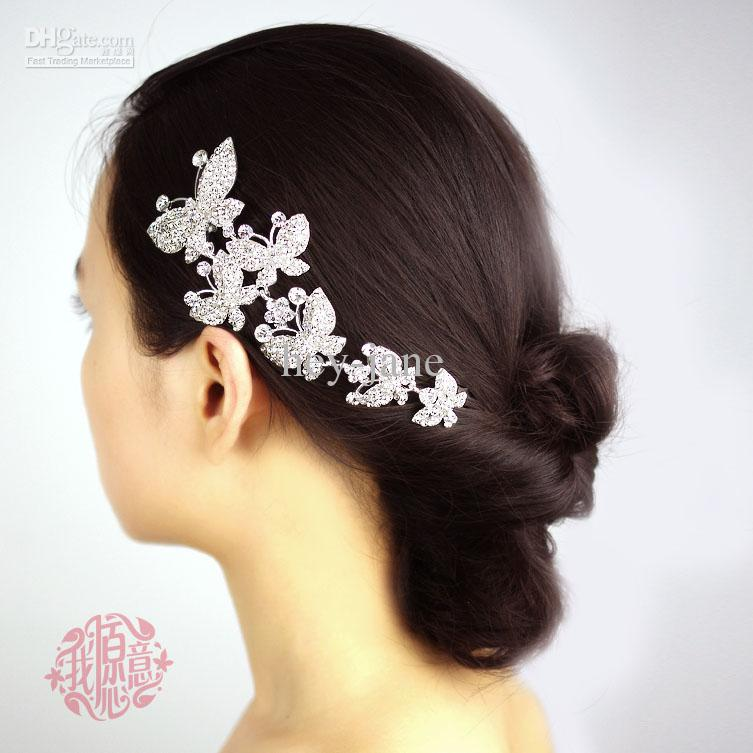 In Stock Crystal Metal Six Butterfly Wedding Bridal Party