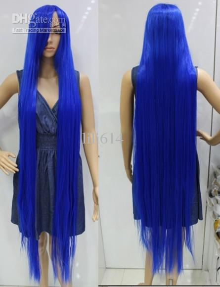 150cm Blue Very Long Straight Cosplay Hair Halloween Wig