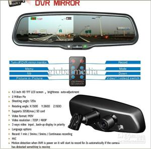 Car DVR Rearview Mirror With Back Up Camera Display , Could Support 32GB SD Card Dash Camera