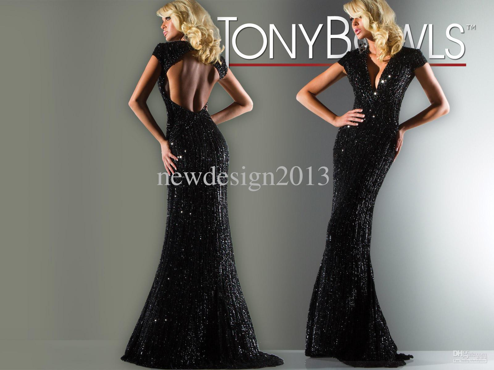 1980 Prom Dresses Elegant Low Back Sexy V Neck Black