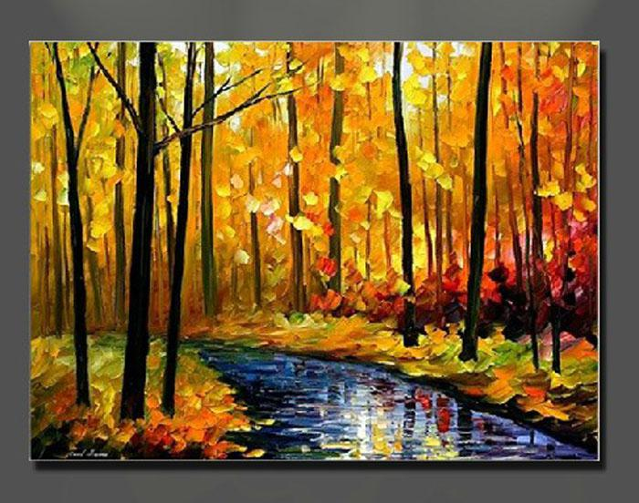 Oil Painting Canvas Autumn Landscape Scenery River Yellow