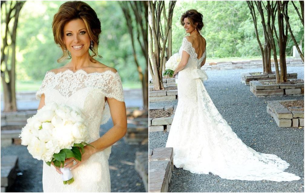 Cheap Off Shoulder Sleeve Mermaid Lace Wedding Dress
