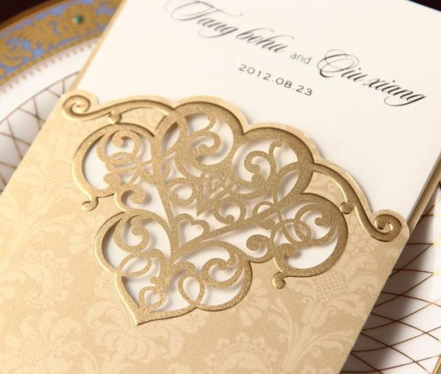 Cw Gold Hollow Out Invitation Card Wedding Invitations Come Envelopes Sealed Card