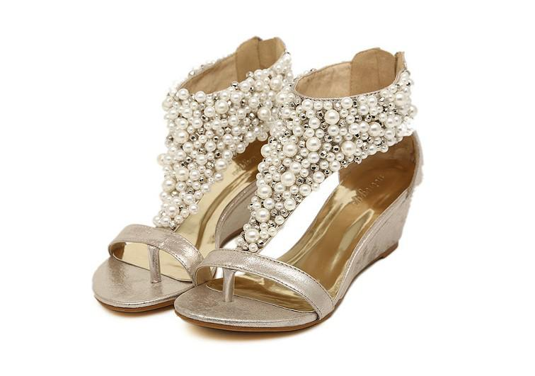 Womens Roman Pearl T Strap Open Toed Wedge Sandals Bride