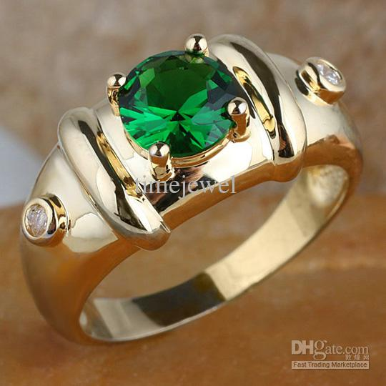 2019 Royal Mens 7mm Round Green Emerald Gold Finish