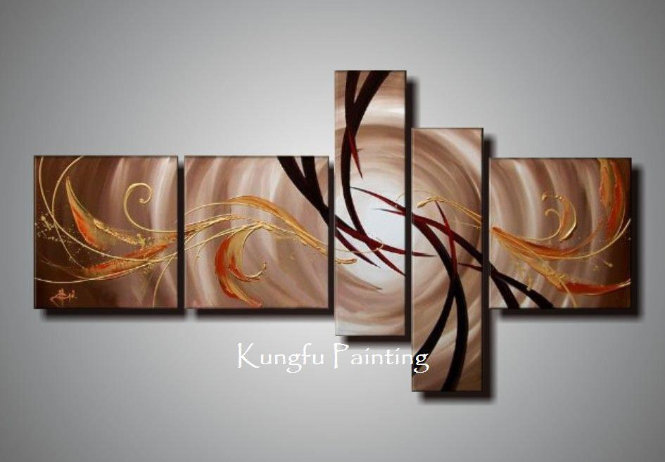 Best 100% Hand Painted Unframed Abstract 5 Panel Canvas