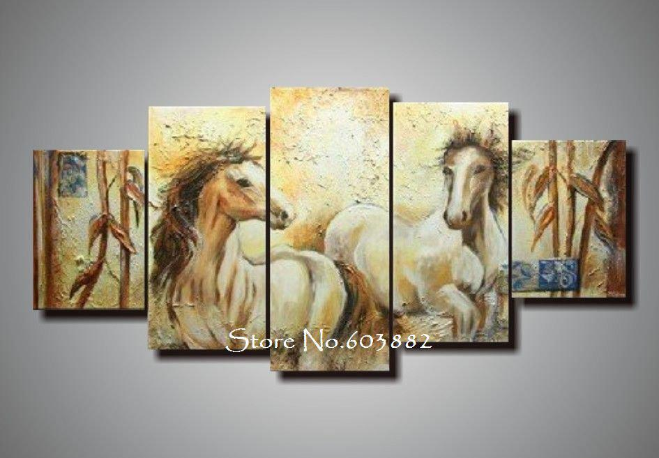 100% Handmade Unframed Abstract Horse Canvas Painting