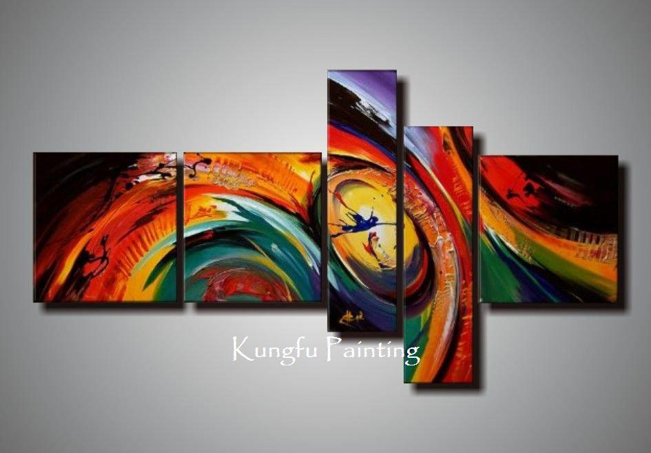 Discount 100% Hand Painted Unframed Abstract 5 Panel