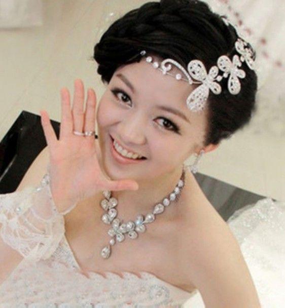 recent korean rhinestones short hair the bride head ornaments frontlet crown wedding hair accessories headdress flower dress accessories jewelry for brides