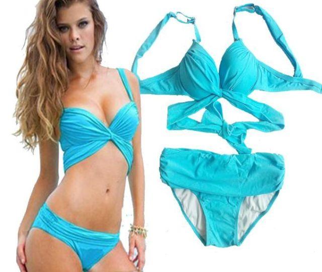 Compre Hot Sexy Girls Swimwear Nueva Empuja Hacia Arriba Bandeau Top Con Pliegues Baja Altura Inferior Traje Bikini Set De Bano Del Traje De Bano S M L