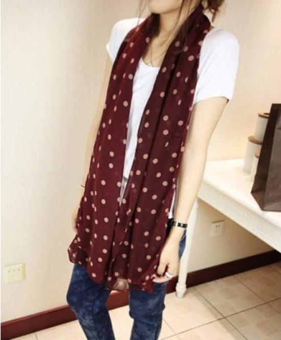 Women Ladies Accessories Causal Circle Polka Dot Shawl Scarf Wrap New a67717624931d