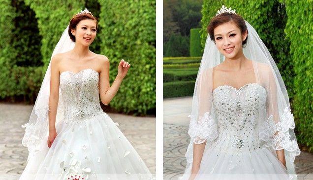 Discount 50% Off White A Line Long Train Wedding Dresses