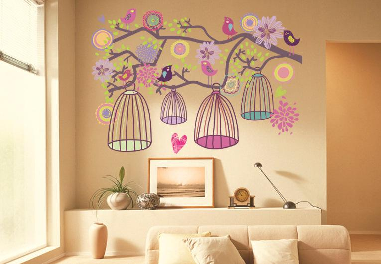 Birdcage Tree Wall Sticker Birdcage Flower Tree Kids  Living Room     Birdcage Tree Wall Sticker Birdcage Flower Tree Kids  Living Room Wall Decor  Children S Room New Cartoon Wall Paper Wall Decals Sale Wall Decals Sayings