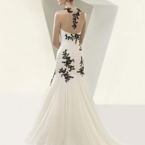 Beautiful By Enzoani Illusion Tulle And Black Lace Appliques