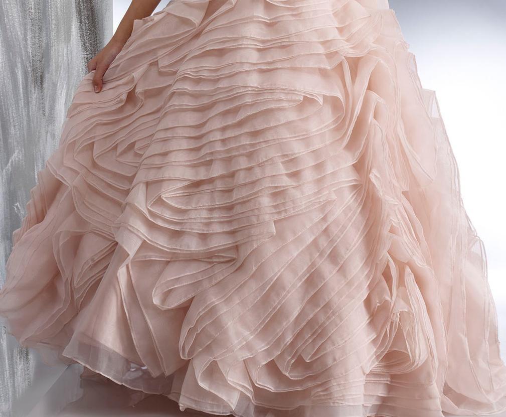 2015 Wedding Dresses Princess Light Pink One Shoulder