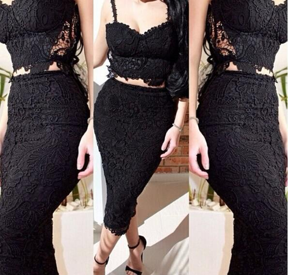 Discount Celebrity Sexy Lace Bandage Dress Black White Casual ...