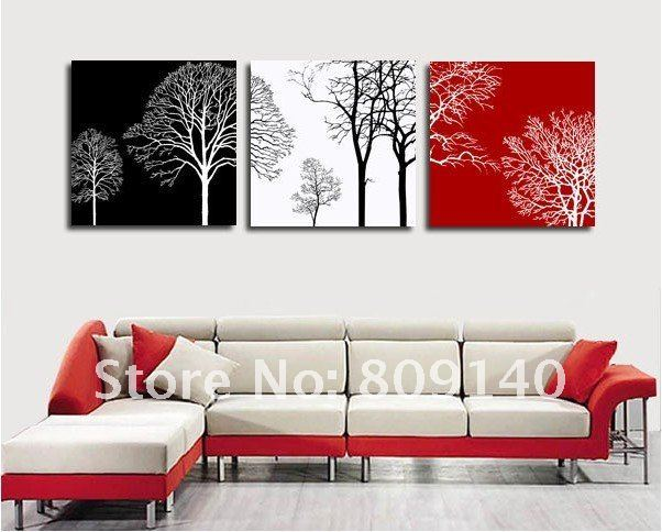 2019 Abstract Tree Black White Red Theme Oil Painting