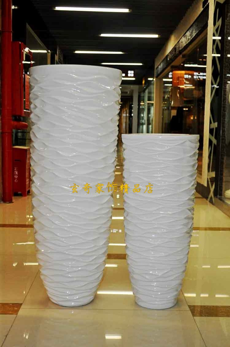 112 Wavy White Large Floor Vase Modern Fashion Flower