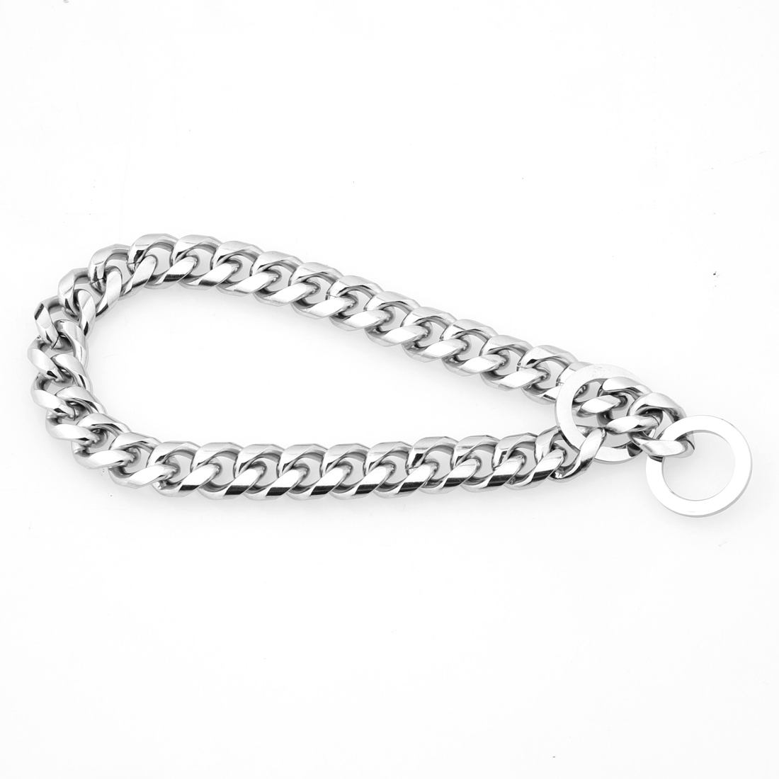 Tisnium 12mm Silver Color Dog Chain Collar Pet