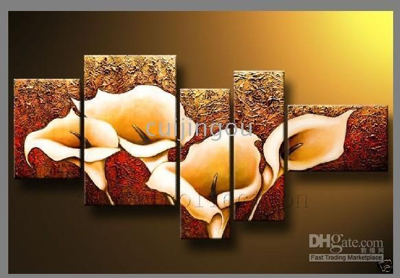 Wholesale Handicraft Abstract Modern Large Art Flower Wall Decor Oil Painting On Canvas-(5 Panel)#C167