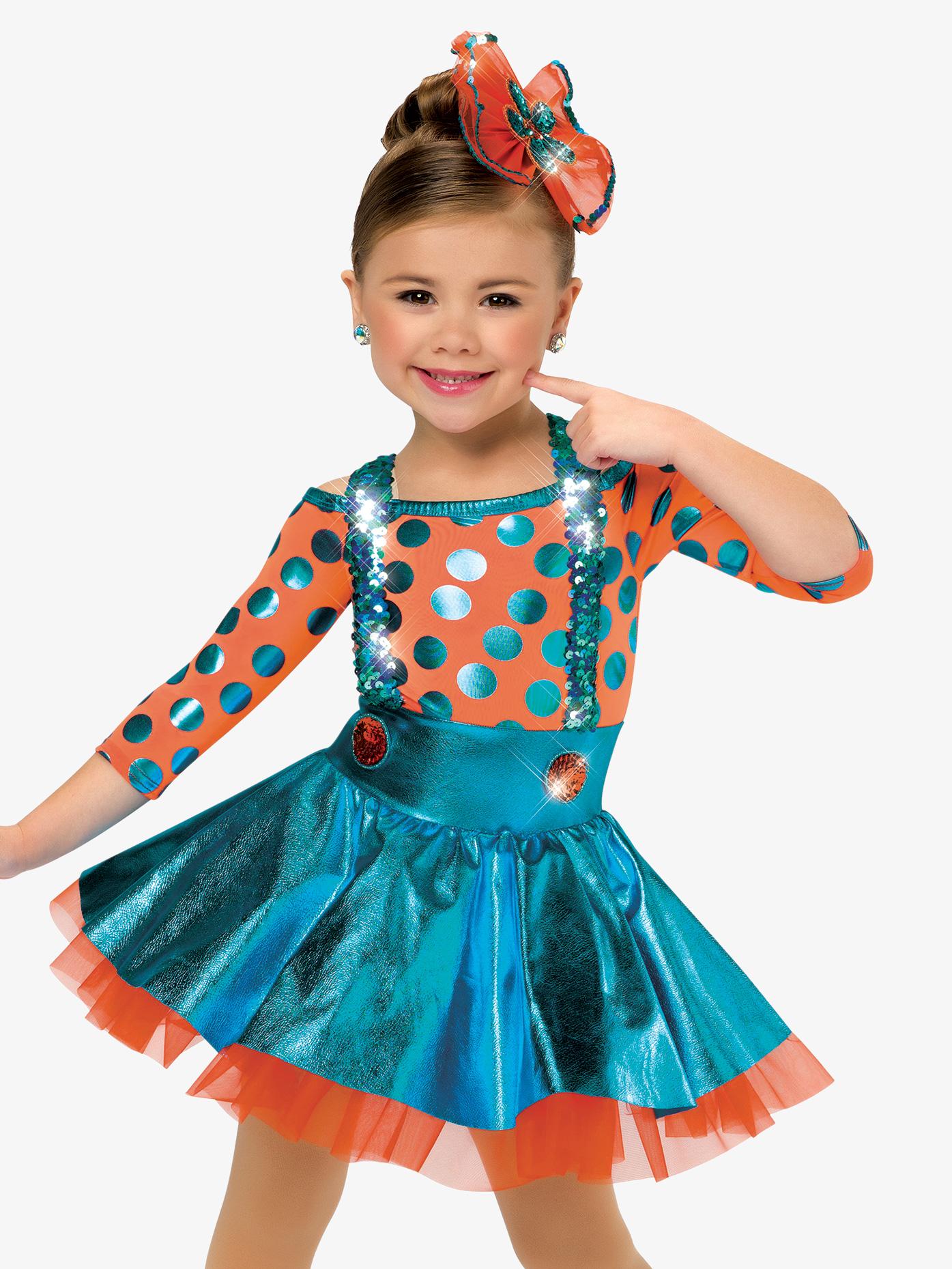 Birthday Surprise Dance Costume Polka Dot Dress Set