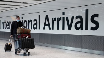 Passenger at Heathrow international arrivals