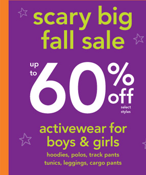 Scary Big Fall Sale. Up to 60% off select styles. Activewear for  boys & girls. Hoodies, polos, track pants, tunics, leggings, cargo  pants.
