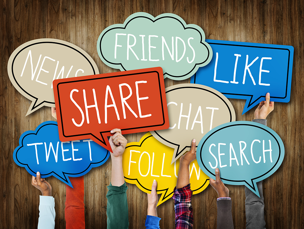 word bubbles with social media terms