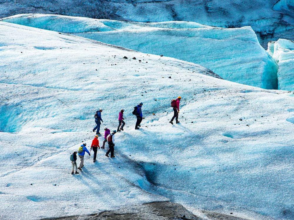 跟著嚮導前往冰河外緣健行,親眼見識電影場景般的純淨之美。