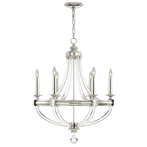 F846040st Grosvenor Square Mid Sized Chandelier Polished Nickel