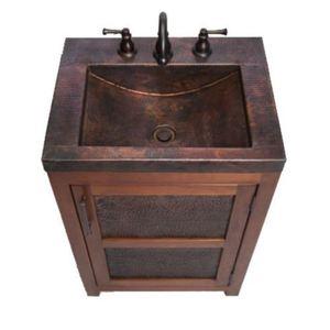 "tvts petit rustic up to 24"" bathroom vanity - cinnamon / black"