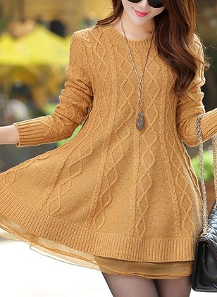 Floryday Cotton Solid Long Sleeve Mini Casual Dresses