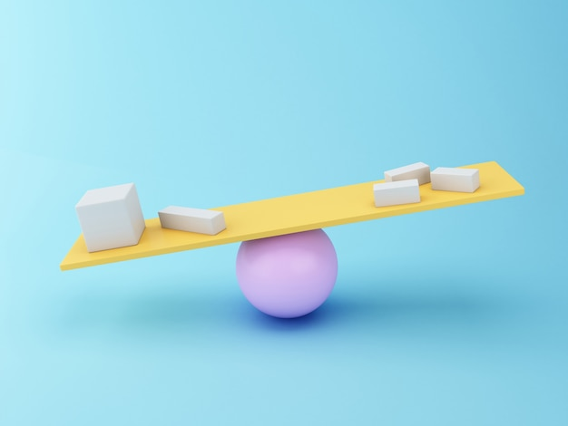 3d Different geometric shapes balancing on a seesaw. Premium Photo