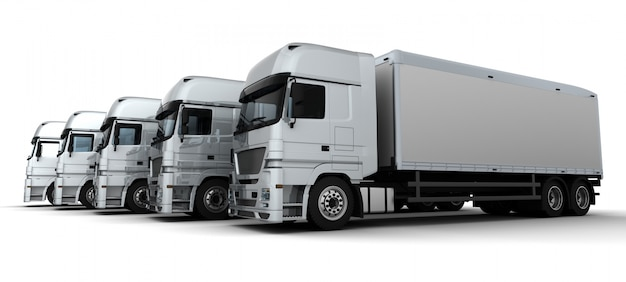 3d render of a fleet of delivery vehicles Free Photo