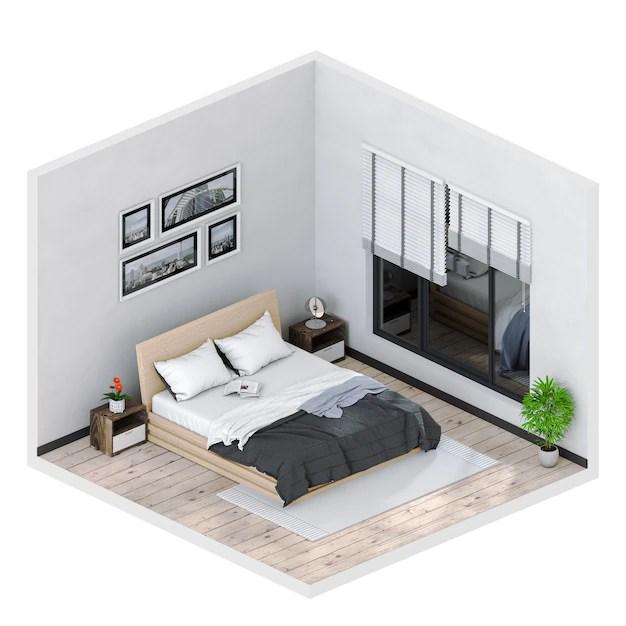 3d render of interior modern bedroom. Photo   Premium Download