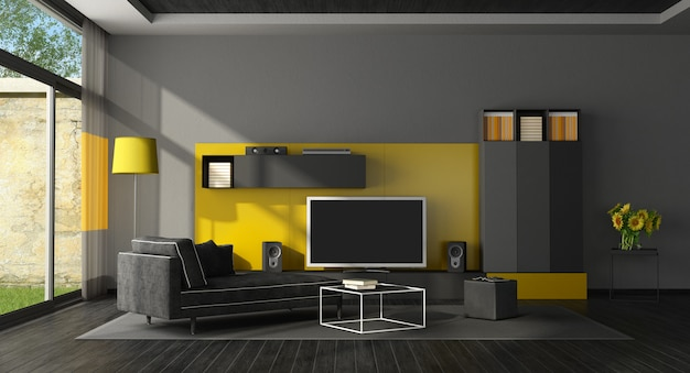 Premium Photo Black And Yellow Living Room With Tv Set