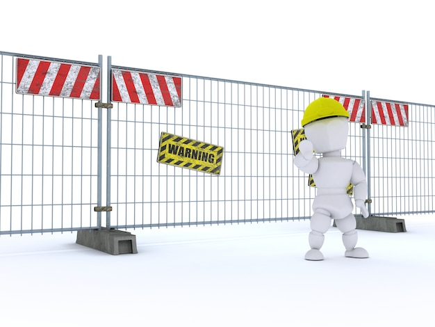 Construction worker warning of hazards at the job site