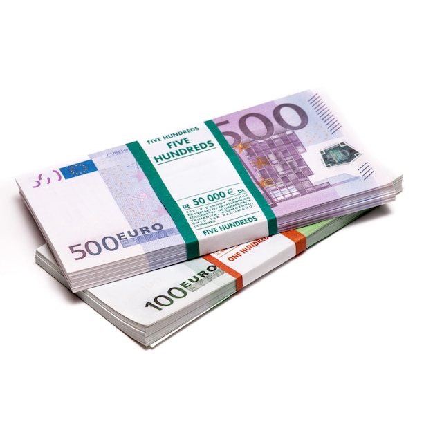 Euros Money Stack Isolated Photo