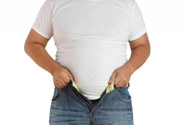 Fat men, asian people can't wear jeans because of their small pants. Premium Photo