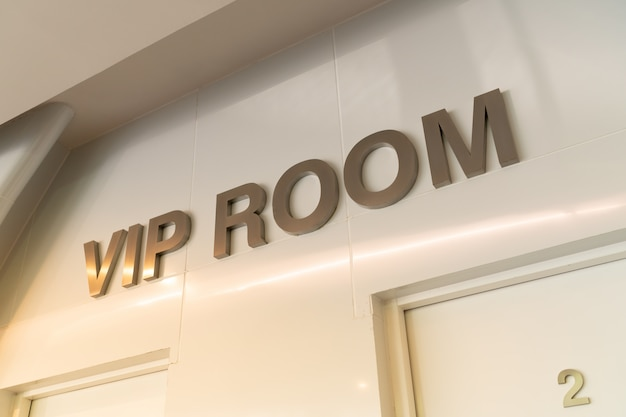 gold vip room sign front room with warm light effect special guests attending meeting 77569 25