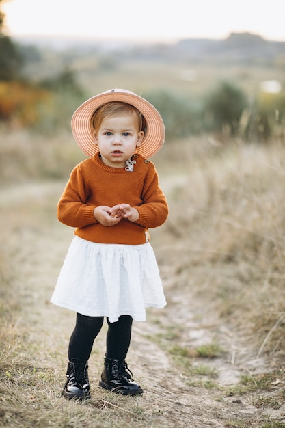 Little cute baby girl outside in park, autumn time Photo ...