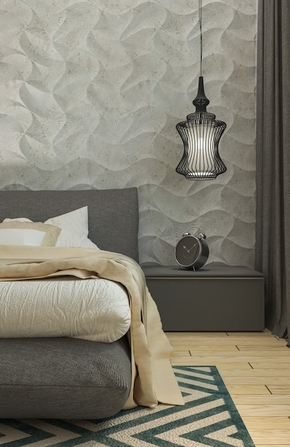 Premium Photo Master Bedroom With Dressing Room 3d Panels In A Modern Style