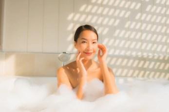 Free Photo | Portrait young asian woman relax take a bath in bathtub
