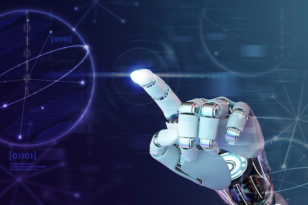 Robot hand finger, ai background technology graphics Free Photo