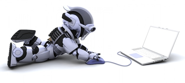 Robot with a laptop and computer mouse Free Photo