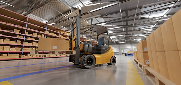 Warehouse goods being stacked with forklift