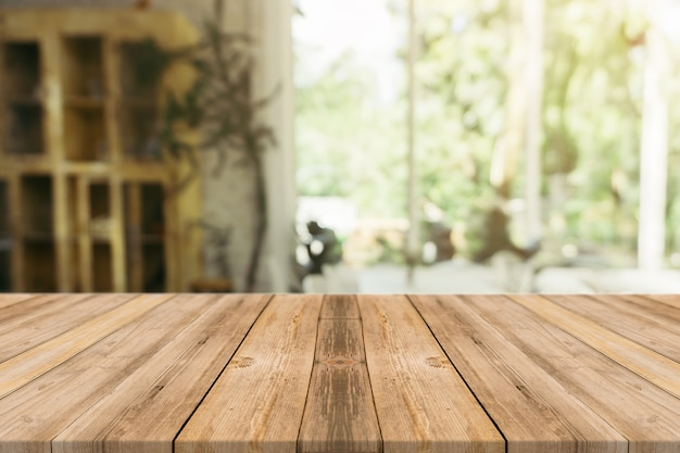 Wooden Board Empty Table In Front Of Blurred Background