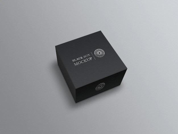 Download Black square box mockup on grey | Premium PSD File