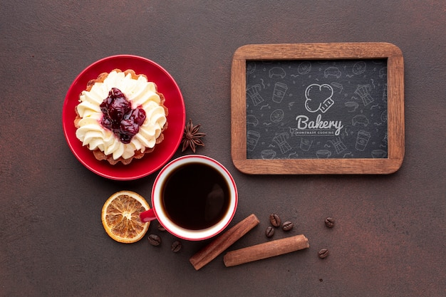 Download Cake with black coffee and blackboard mockup PSD file ...