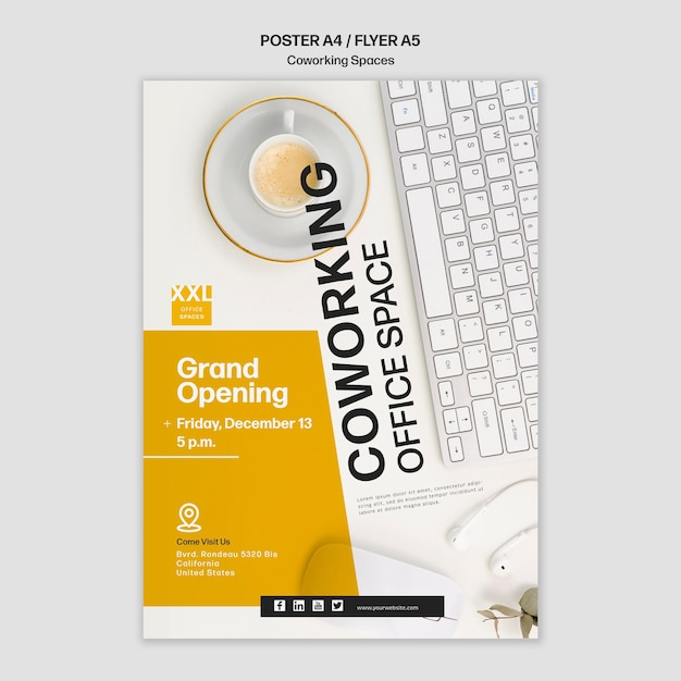 coworking office space poster template